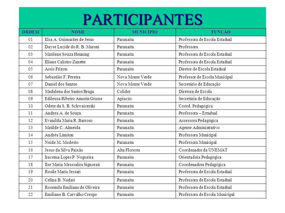PARTICIPANTES ORDEMNOMEMUNICÍPIOFUNÇÃO 01Elsa A. Guimarães de JesusParanaitaProfessora de Escola Estadual 02Dayse Lucide do R. B. MaroniParanaitaProfe