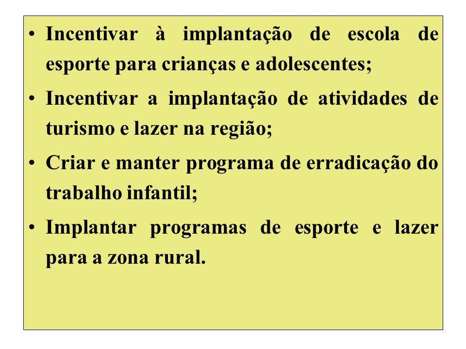Incentivar à implantação de escola de esporte para crianças e adolescentes; Incentivar a implantação de atividades de turismo e lazer na região; Criar e manter programa de erradicação do trabalho infantil; Implantar programas de esporte e lazer para a zona rural.