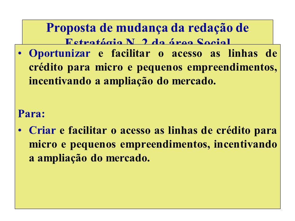 Proposta de mudança da redação de Estratégia N. 2 da área Social Oportunizar e facilitar o acesso as linhas de crédito para micro e pequenos empreendi