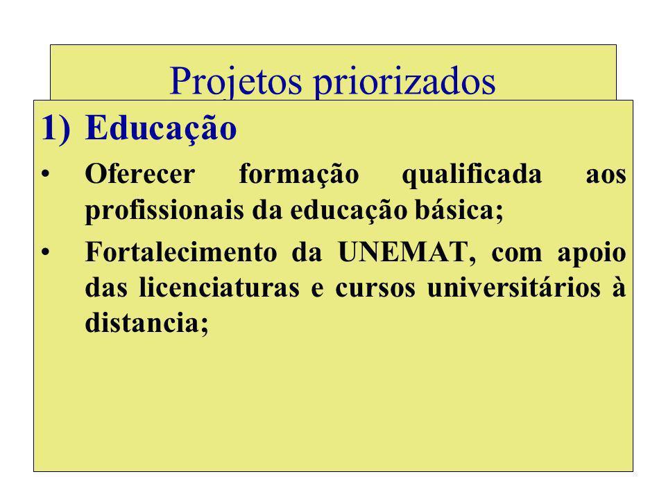 Projetos priorizados 1)Educação Oferecer formação qualificada aos profissionais da educação básica; Fortalecimento da UNEMAT, com apoio das licenciaturas e cursos universitários à distancia;