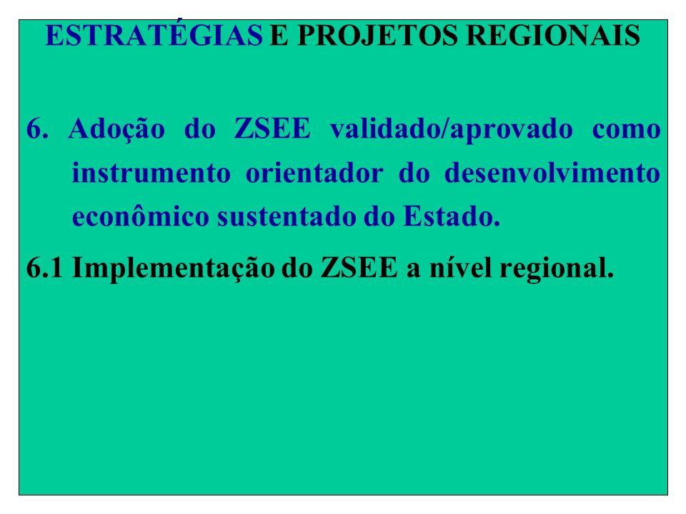 ESTRATÉGIAS E PROJETOS REGIONAIS 6. Adoção do ZSEE validado/aprovado como instrumento orientador do desenvolvimento econômico sustentado do Estado. 6.