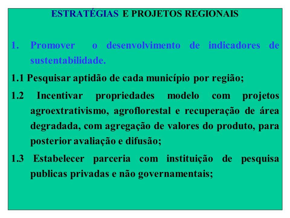 ESTRATÉGIAS E PROJETOS REGIONAIS 1.Promover o desenvolvimento de indicadores de sustentabilidade. 1.1 Pesquisar aptidão de cada município por região;