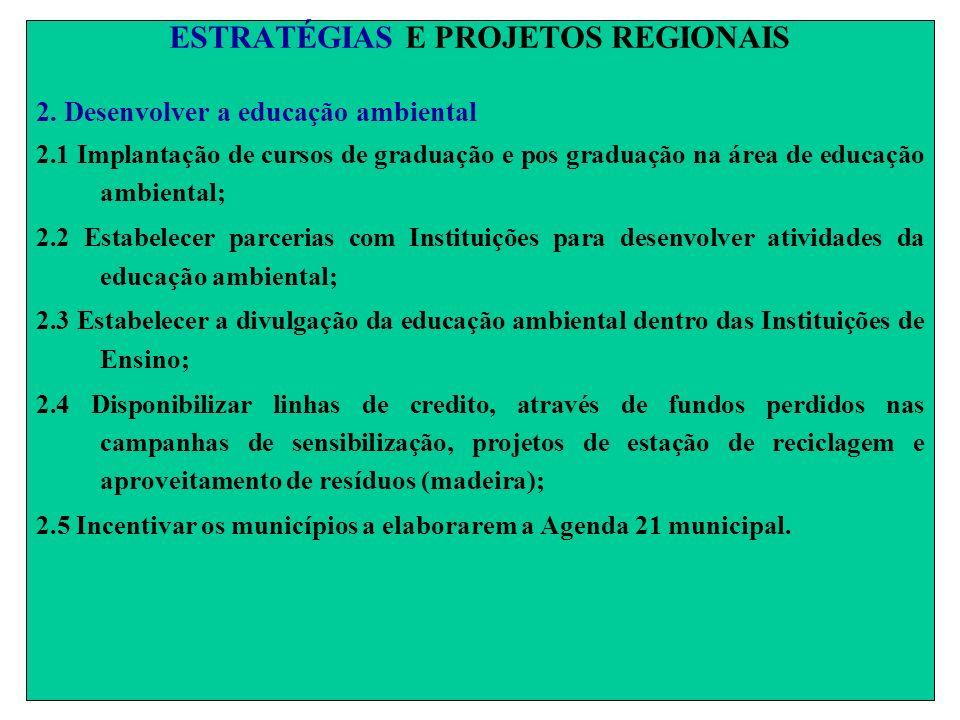 ESTRATÉGIAS E PROJETOS REGIONAIS 2. Desenvolver a educação ambiental 2.1 Implantação de cursos de graduação e pos graduação na área de educação ambien