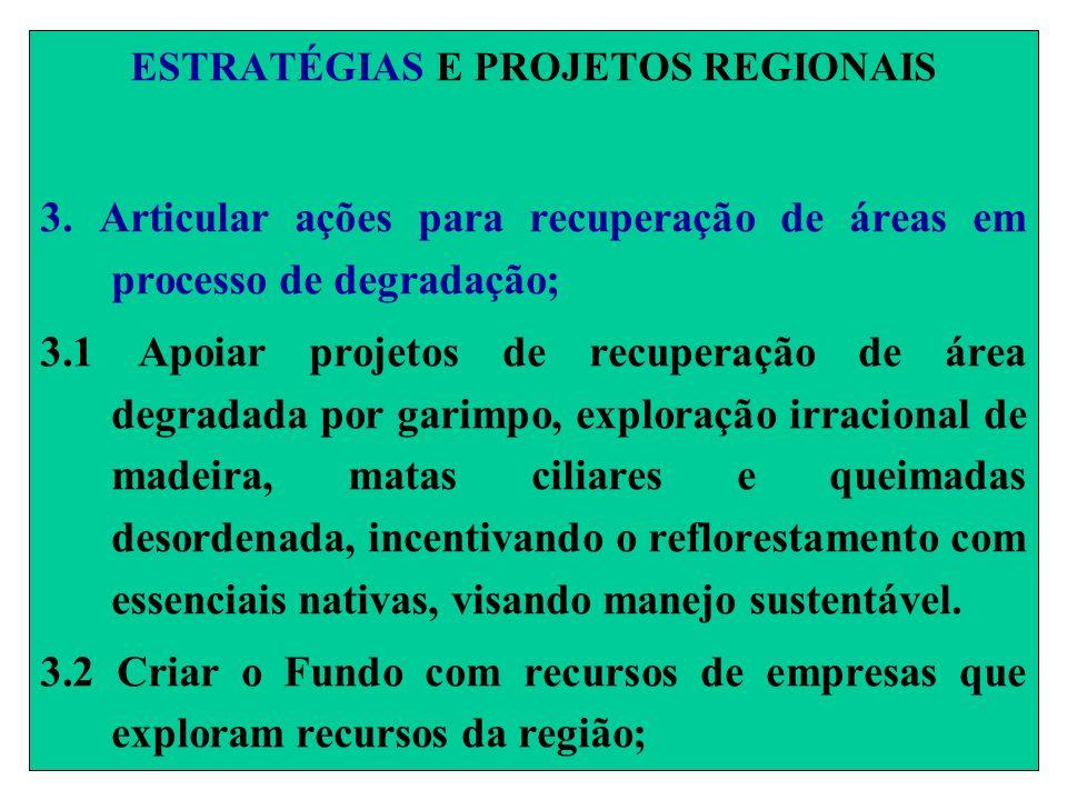 ESTRATÉGIAS E PROJETOS REGIONAIS 3. Articular ações para recuperação de áreas em processo de degradação; 3.1 Apoiar projetos de recuperação de área de