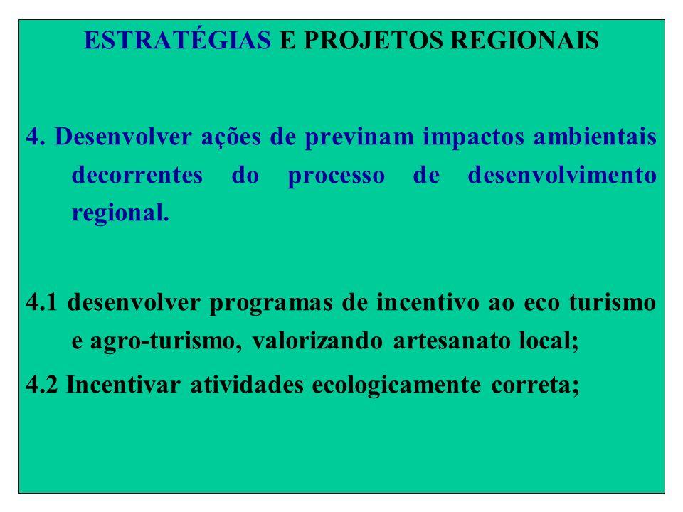 ESTRATÉGIAS E PROJETOS REGIONAIS 4. Desenvolver ações de previnam impactos ambientais decorrentes do processo de desenvolvimento regional. 4.1 desenvo