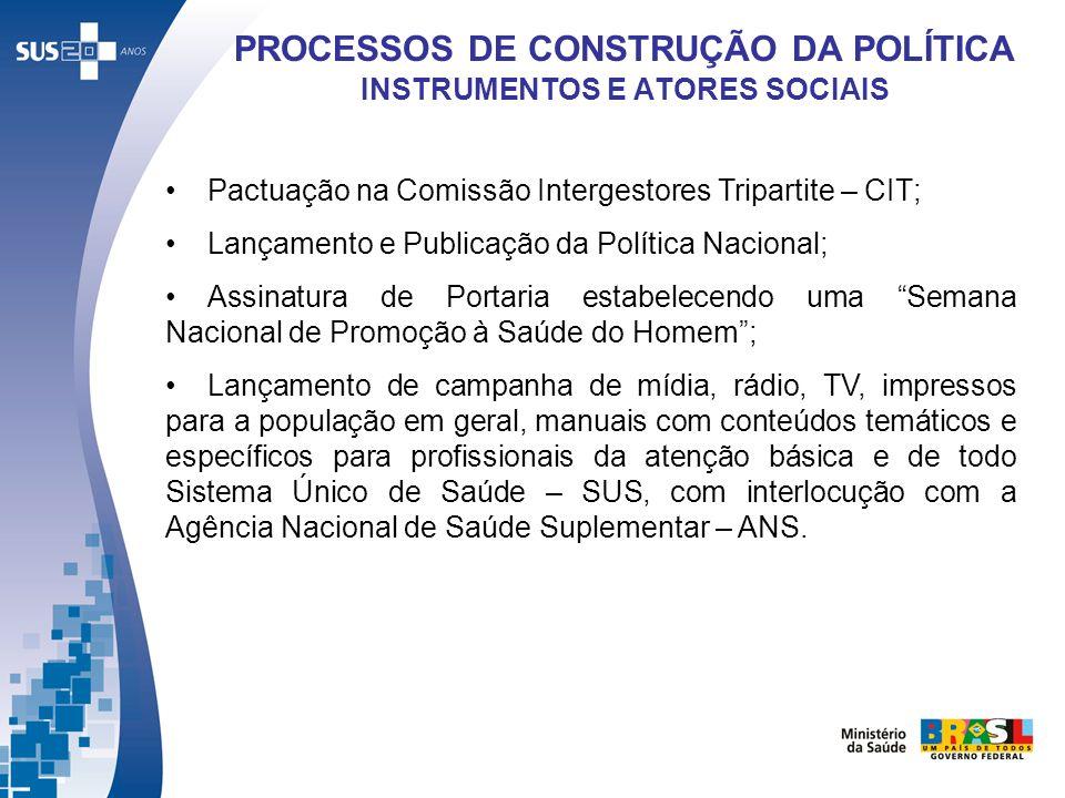 Pactuação na Comissão Intergestores Tripartite – CIT; Lançamento e Publicação da Política Nacional; Assinatura de Portaria estabelecendo uma Semana Na