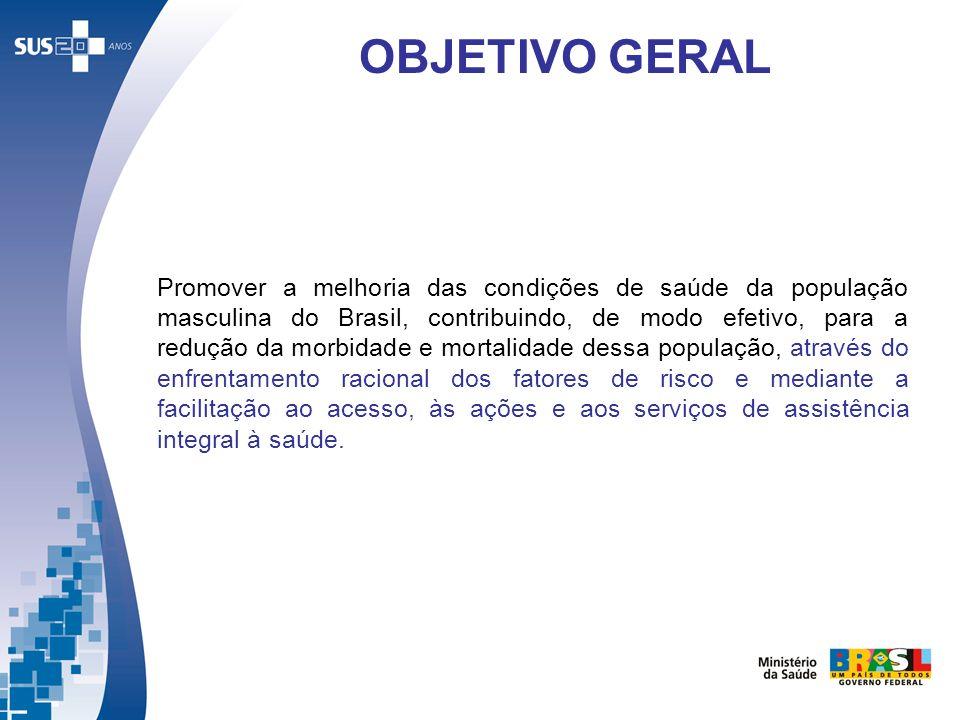 Promover a melhoria das condições de saúde da população masculina do Brasil, contribuindo, de modo efetivo, para a redução da morbidade e mortalidade