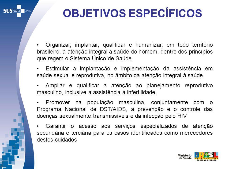 Organizar, implantar, qualificar e humanizar, em todo território brasileiro, à atenção integral a saúde do homem, dentro dos princípios que regem o Si