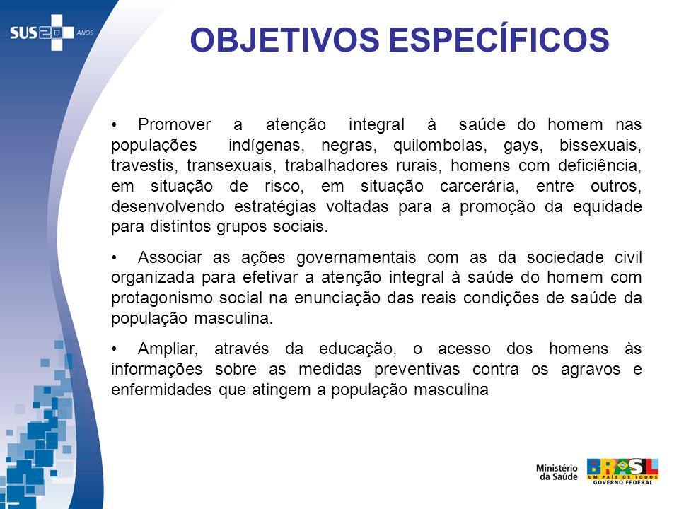 Promover a atenção integral à saúde do homem nas populações indígenas, negras, quilombolas, gays, bissexuais, travestis, transexuais, trabalhadores ru