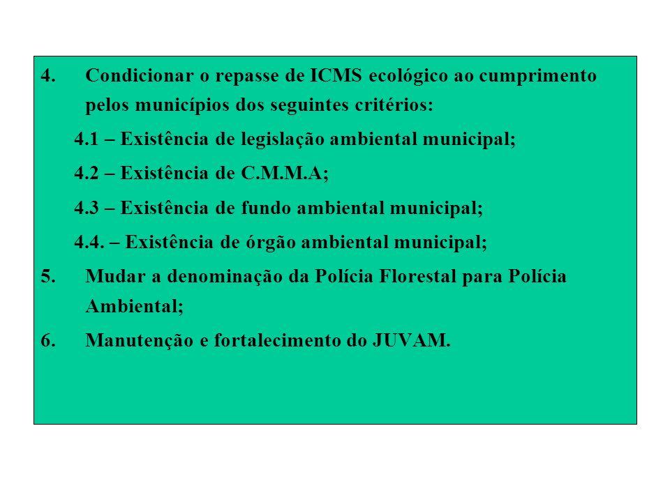 4.Condicionar o repasse de ICMS ecológico ao cumprimento pelos municípios dos seguintes critérios: 4.1 – Existência de legislação ambiental municipal;