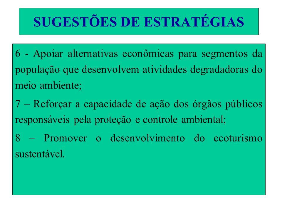 SUGESTÕES DE ESTRATÉGIAS 6 - Apoiar alternativas econômicas para segmentos da população que desenvolvem atividades degradadoras do meio ambiente; 7 –