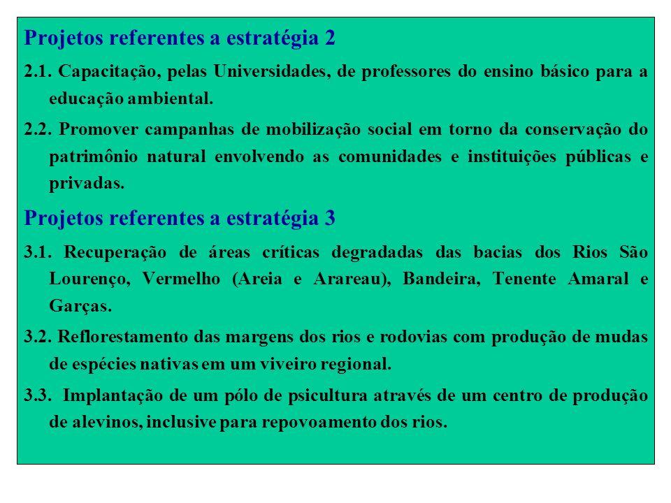 Projetos referentes a estratégia 2 2.1. Capacitação, pelas Universidades, de professores do ensino básico para a educação ambiental. 2.2. Promover cam