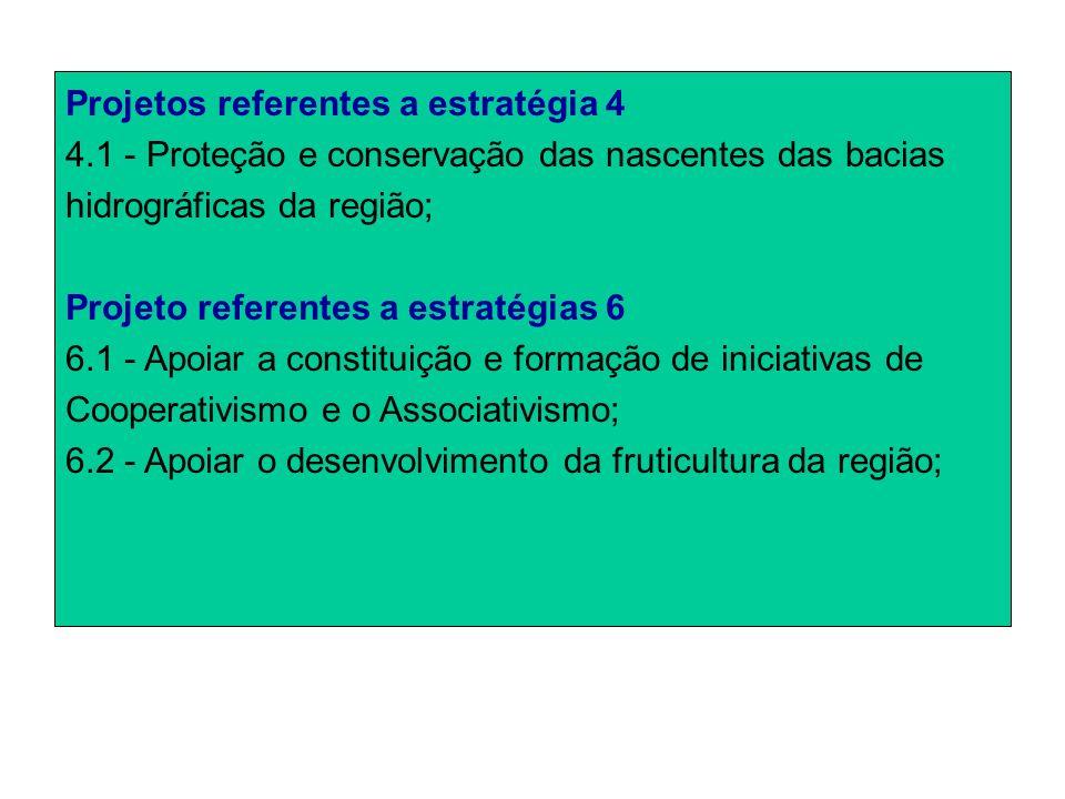 Projetos referentes a estratégia 4 4.1 - Proteção e conservação das nascentes das bacias hidrográficas da região; Projeto referentes a estratégias 6 6