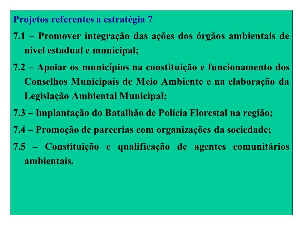 Projetos referentes a estratégia 7 7.1 – Promover integração das ações dos órgãos ambientais de nível estadual e municipal; 7.2 – Apoiar os municípios