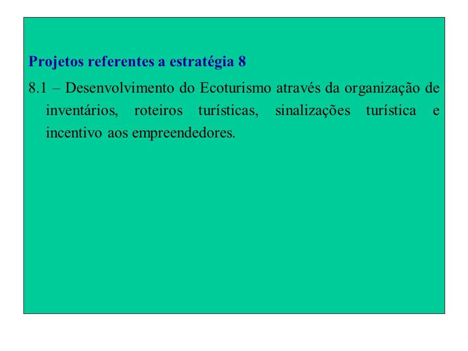 Projetos referentes a estratégia 8 8.1 – Desenvolvimento do Ecoturismo através da organização de inventários, roteiros turísticas, sinalizações turíst