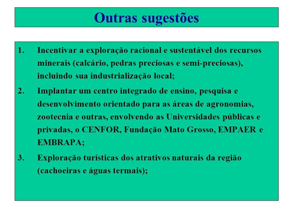 Outras sugestões 1.Incentivar a exploração racional e sustentável dos recursos minerais (calcário, pedras preciosas e semi-preciosas), incluindo sua i