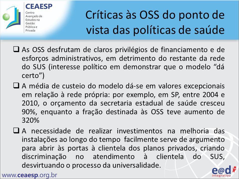 Críticas às OSS do ponto de vista das políticas de saúde As OSS desfrutam de claros privilégios de financiamento e de esforços administrativos, em det