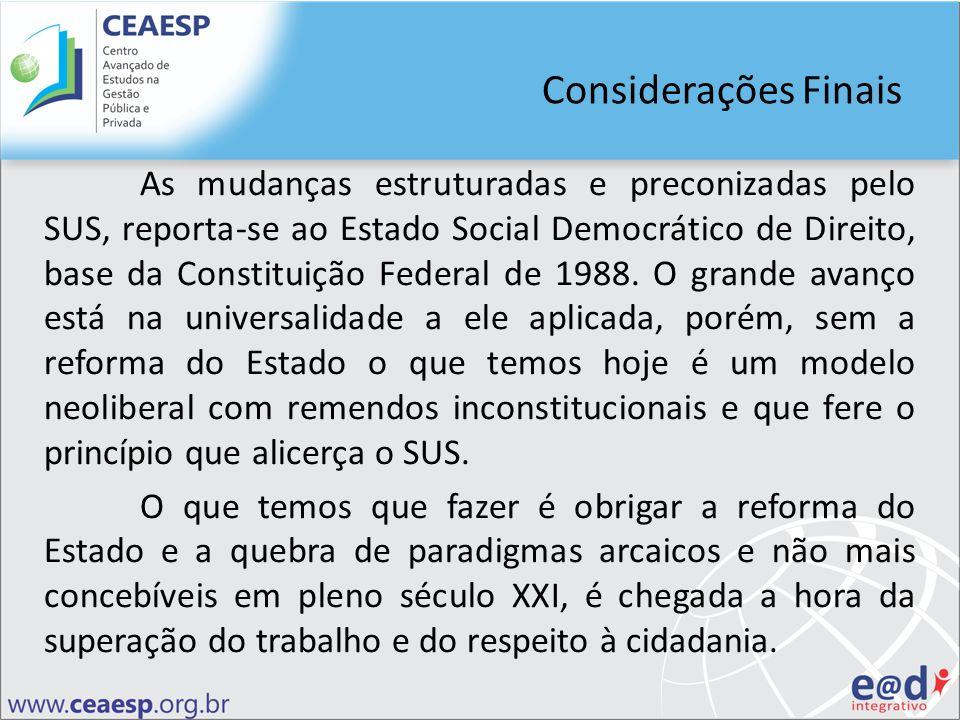Considerações Finais As mudanças estruturadas e preconizadas pelo SUS, reporta-se ao Estado Social Democrático de Direito, base da Constituição Federa