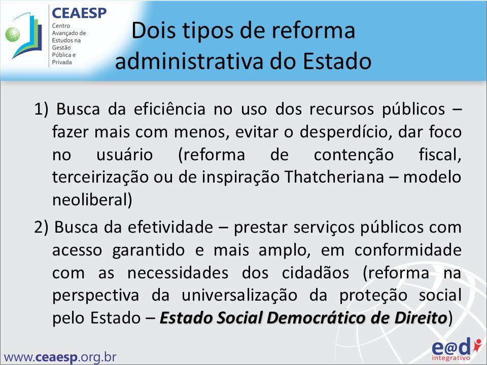 Dois tipos de reforma administrativa do Estado 1) Busca da eficiência no uso dos recursos públicos – fazer mais com menos, evitar o desperdício, dar f
