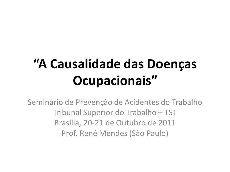 A Causalidade das Doenças Ocupacionais Seminário de Prevenção de Acidentes do Trabalho Tribunal Superior do Trabalho – TST Brasília, 20-21 de Outubro de 2011 Prof.