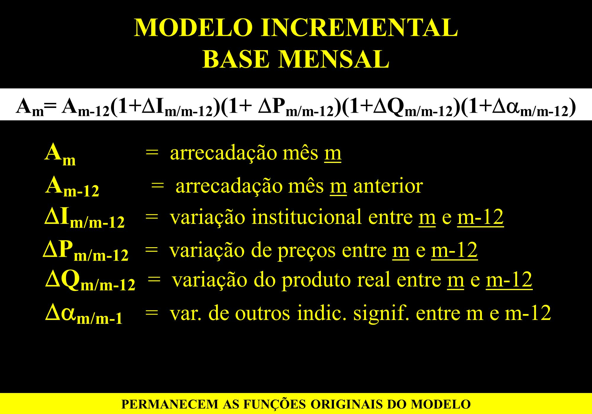 MODELO INCREMENTAL BASE MENSAL A m = A m-12 (1+ I m/m-12 )(1+ P m/m-12 )(1+ Q m/m-12 )(1+ m/m-12 ) PERMANECEM AS FUNÇÕES ORIGINAIS DO MODELO A m = arr