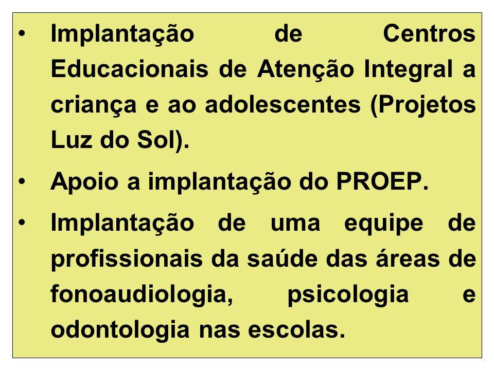 Implantação de Centros Educacionais de Atenção Integral a criança e ao adolescentes (Projetos Luz do Sol).