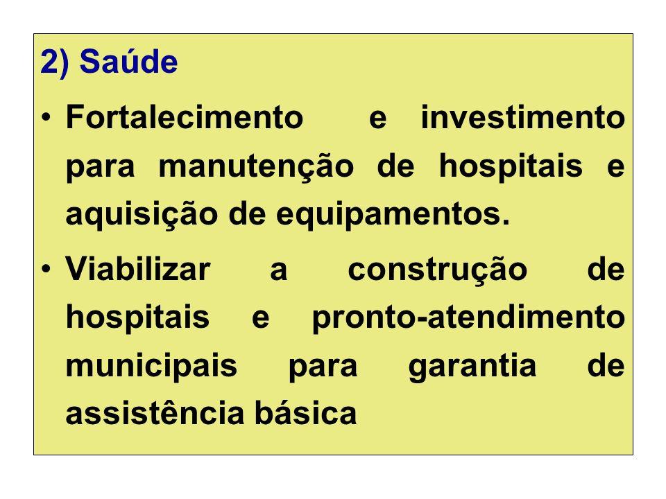 2) Saúde Fortalecimento e investimento para manutenção de hospitais e aquisição de equipamentos.