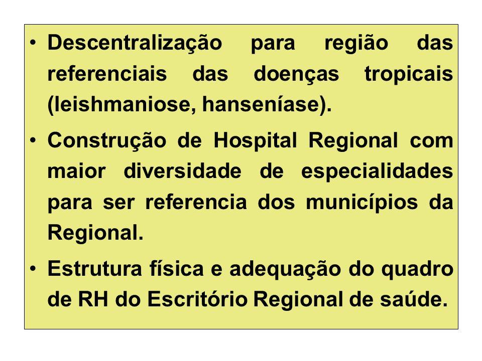 Descentralização para região das referenciais das doenças tropicais (leishmaniose, hanseníase).