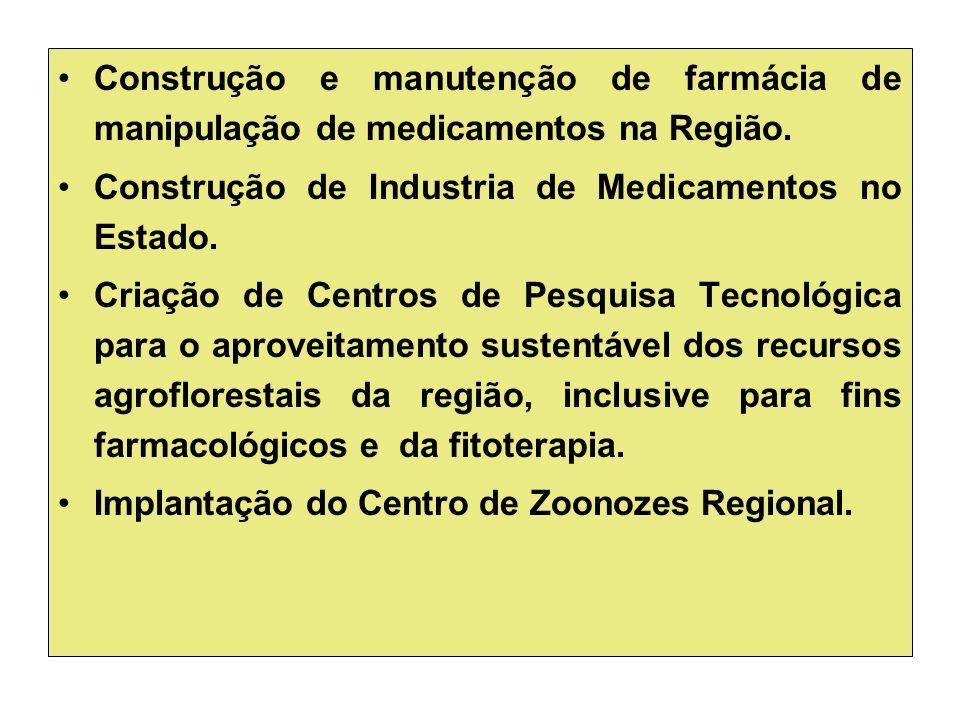 Construção e manutenção de farmácia de manipulação de medicamentos na Região.