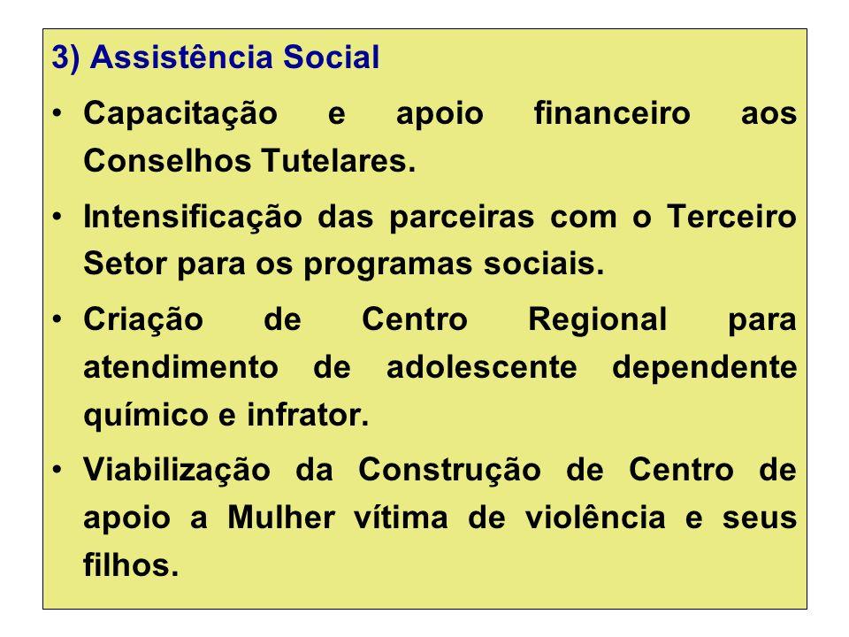 3) Assistência Social Capacitação e apoio financeiro aos Conselhos Tutelares.