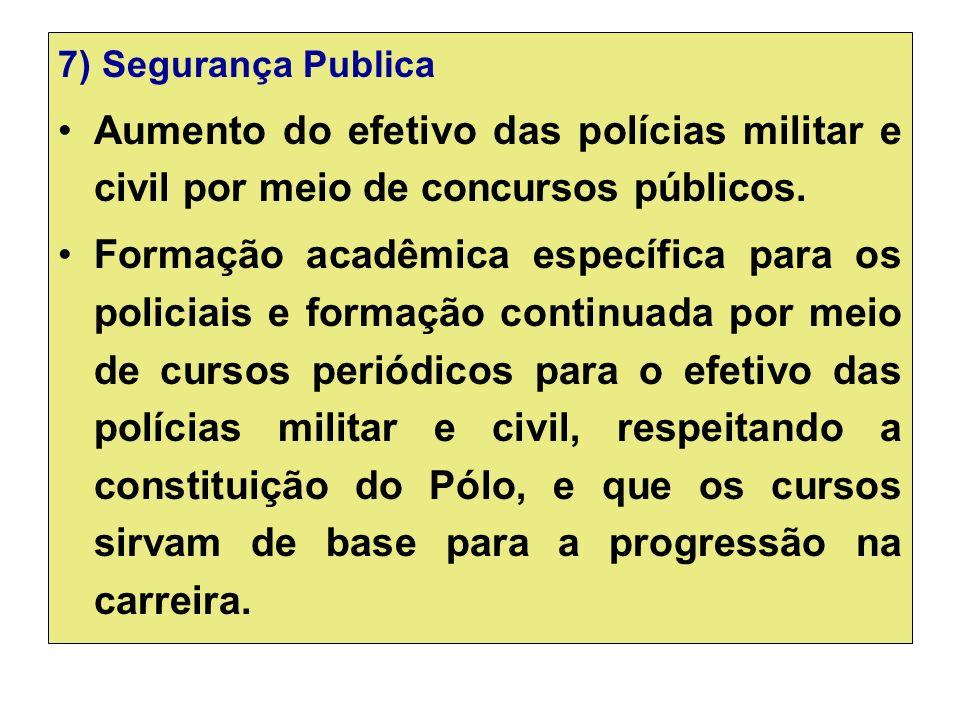 7) Segurança Publica Aumento do efetivo das polícias militar e civil por meio de concursos públicos.
