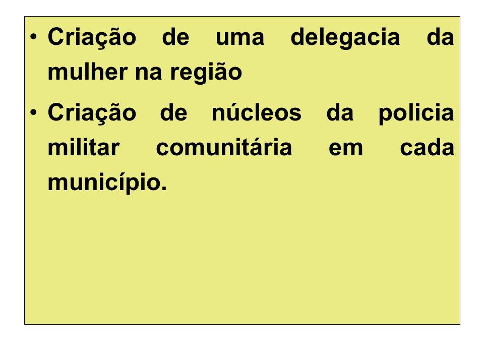 Criação de uma delegacia da mulher na região Criação de núcleos da policia militar comunitária em cada município.