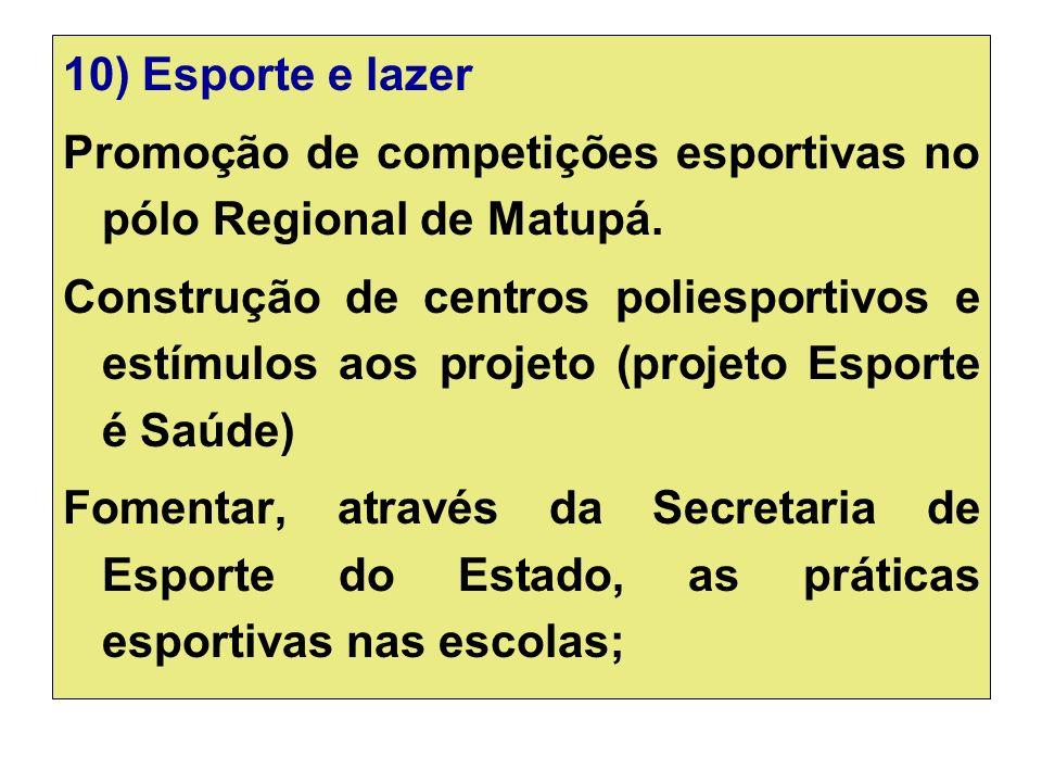 10) Esporte e lazer Promoção de competições esportivas no pólo Regional de Matupá.