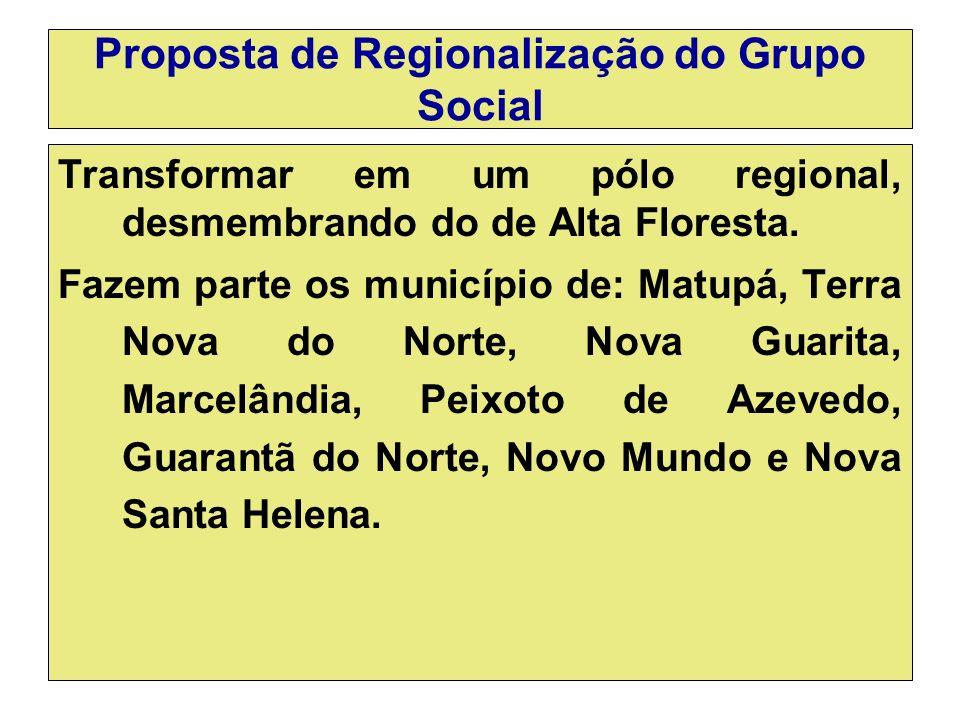 Proposta de Regionalização do Grupo Social Transformar em um pólo regional, desmembrando do de Alta Floresta.