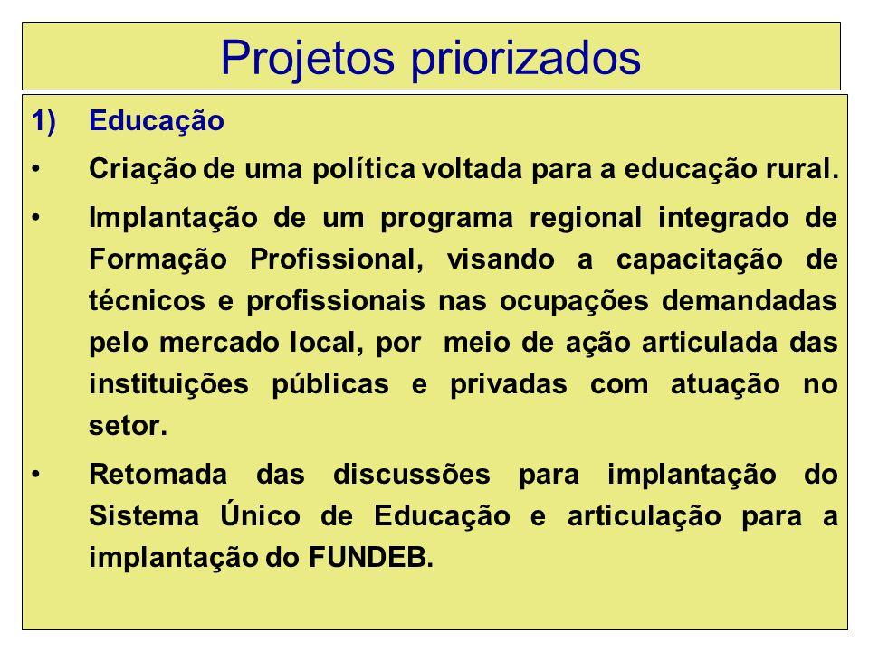 Projetos priorizados 1)Educação Criação de uma política voltada para a educação rural.