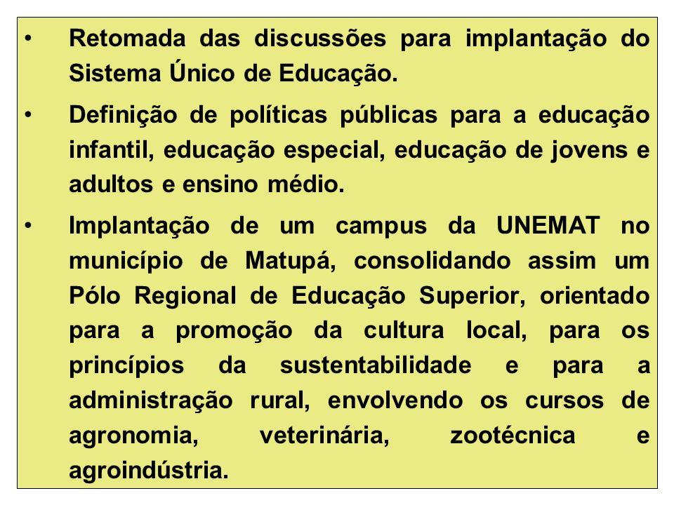 Retomada das discussões para implantação do Sistema Único de Educação.