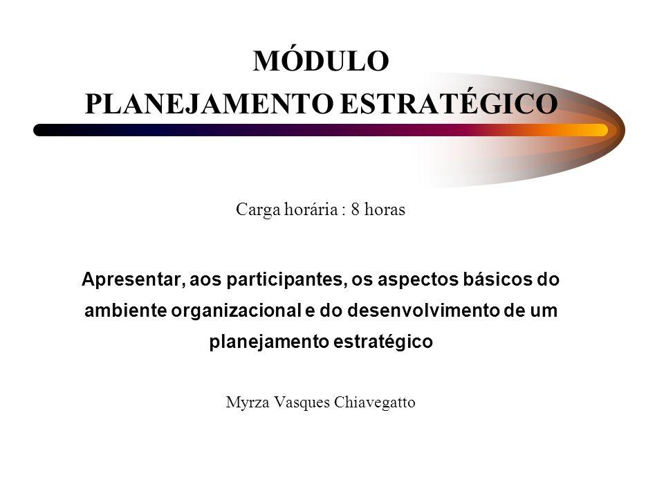 MÓDULO PLANEJAMENTO ESTRATÉGICO Carga horária : 8 horas Apresentar, aos participantes, os aspectos básicos do ambiente organizacional e do desenvolvimento de um planejamento estratégico Myrza Vasques Chiavegatto