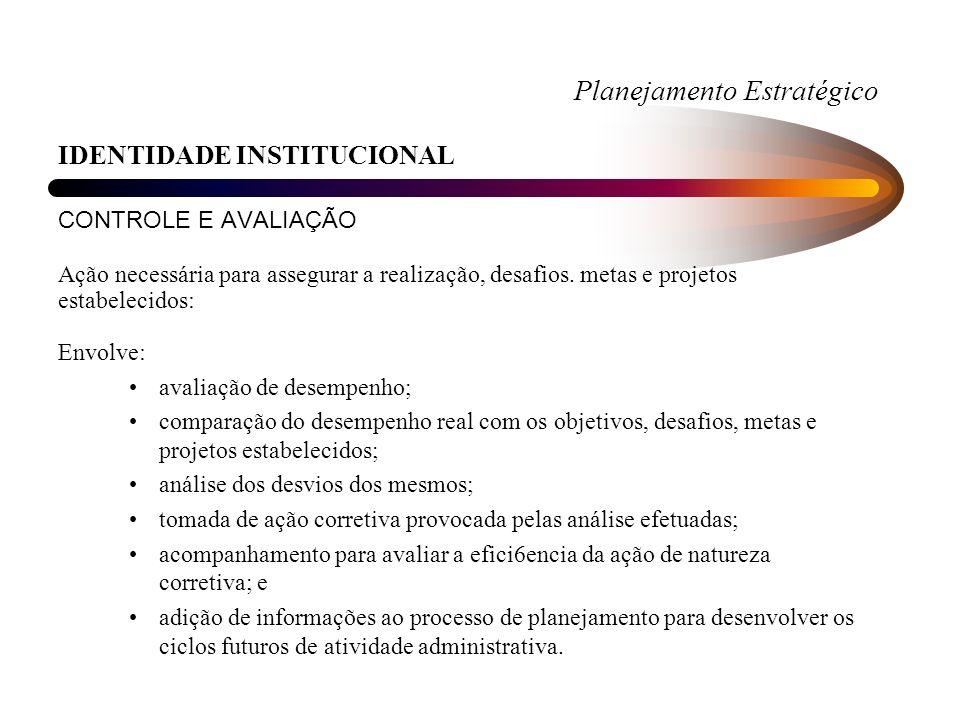 Planejamento Estratégico IDENTIDADE INSTITUCIONAL CONTROLE E AVALIAÇÃO Ação necessária para assegurar a realização, desafios.