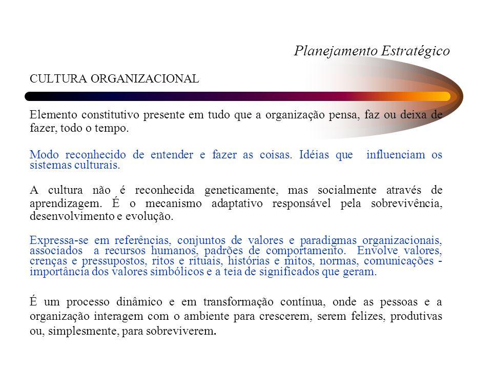 Planejamento Estratégico CULTURA ORGANIZACIONAL Elemento constitutivo presente em tudo que a organização pensa, faz ou deixa de fazer, todo o tempo.