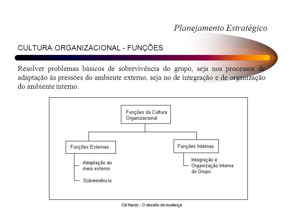 CULTURA ORGANIZACIONAL - FUNÇÕES Resolver problemas básicos de sobrevivência do grupo, seja nos processos de adaptação às pressões do ambiente externo, seja no de integração e de organização do ambiente interno.