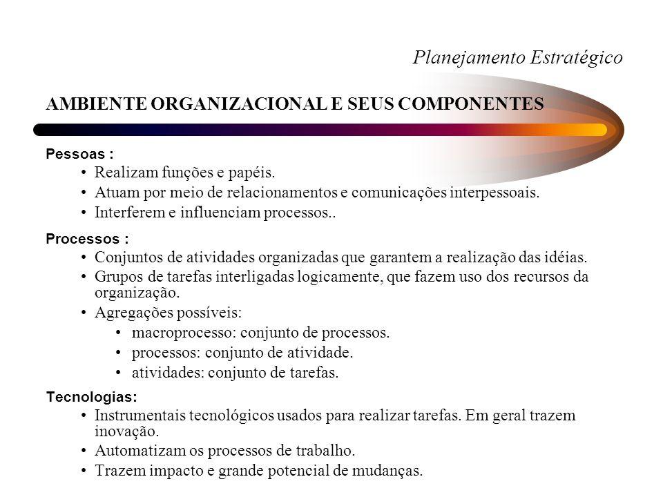 Planejamento Estratégico AMBIENTE ORGANIZACIONAL E SEUS COMPONENTES Pessoas : Realizam funções e papéis.