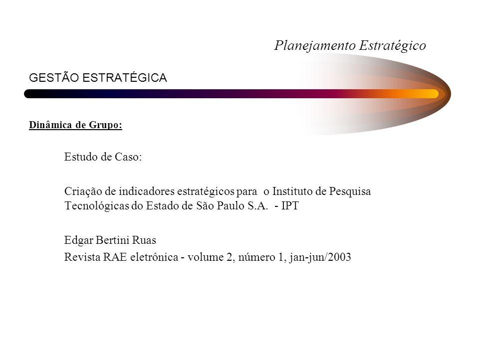 Planejamento Estratégico GESTÃO ESTRATÉGICA Dinâmica de Grupo: Estudo de Caso: Criação de indicadores estratégicos para o Instituto de Pesquisa Tecnológicas do Estado de São Paulo S.A.