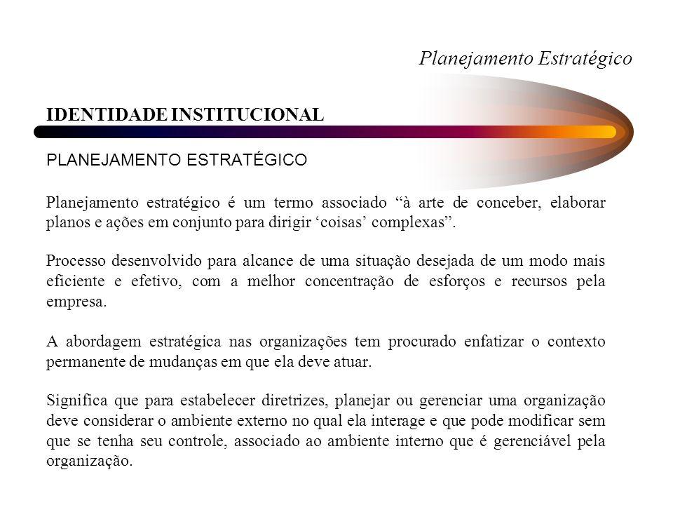 Planejamento Estratégico IDENTIDADE INSTITUCIONAL PLANEJAMENTO ESTRATÉGICO Planejamento estratégico é um termo associado à arte de conceber, elaborar planos e ações em conjunto para dirigir coisas complexas.