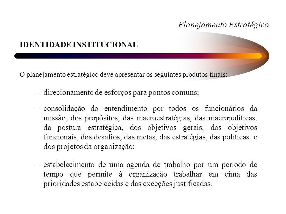 Planejamento Estratégico IDENTIDADE INSTITUCIONAL O planejamento estratégico deve apresentar os seguintes produtos finais: –direcionamento de esforços para pontos comuns; –consolidação do entendimento por todos os funcionários da missão, dos propósitos, das macroestratégias, das macropolíticas, da postura estratégica, dos objetivos gerais, dos objetivos funcionais, dos desafios, das metas, das estratégias, das políticas e dos projetos da organização; –estabelecimento de uma agenda de trabalho por um período de tempo que permite à organização trabalhar em cima das prioridades estabelecidas e das exceções justificadas.