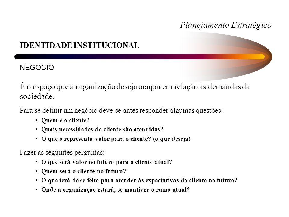 Planejamento Estratégico IDENTIDADE INSTITUCIONAL NEGÓCIO A definição pode ser expressa de forma restrita, ampla ou generalizada.