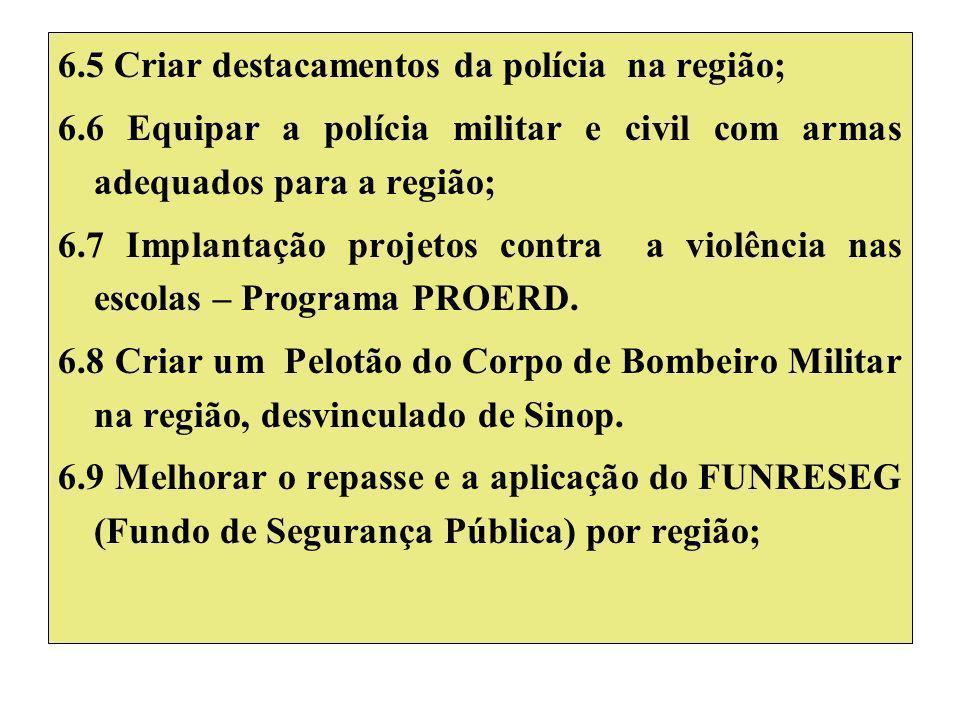 6.5 Criar destacamentos da polícia na região; 6.6 Equipar a polícia militar e civil com armas adequados para a região; 6.7 Implantação projetos contra a violência nas escolas – Programa PROERD.