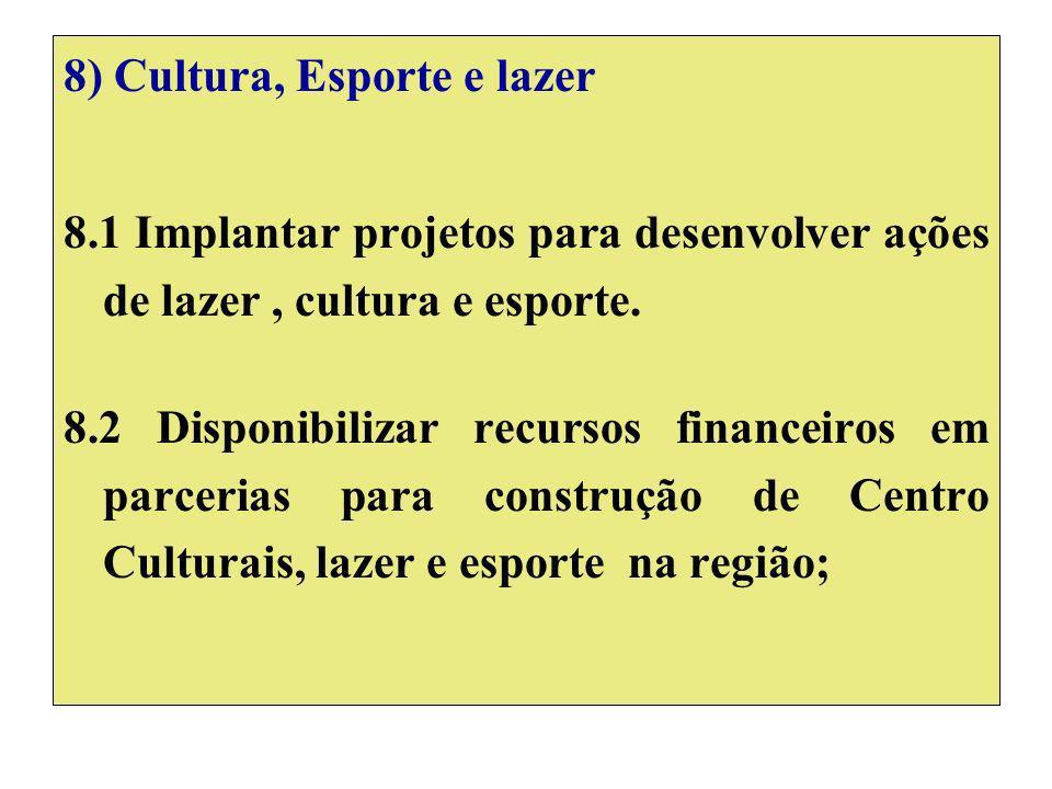 8) Cultura, Esporte e lazer 8.1 Implantar projetos para desenvolver ações de lazer, cultura e esporte.