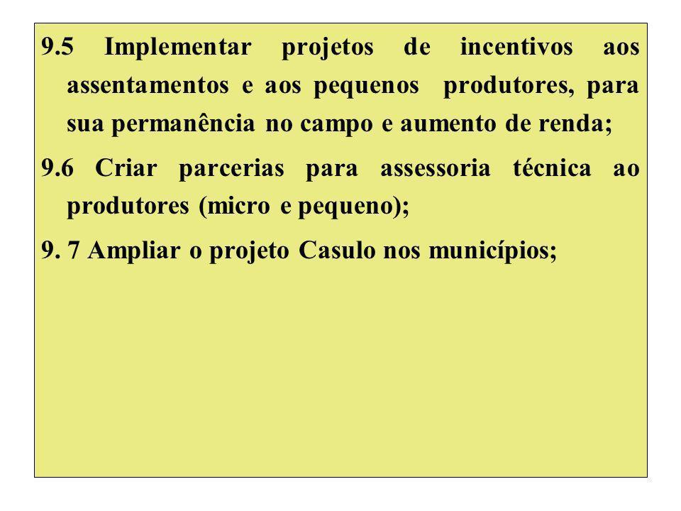 9.5 Implementar projetos de incentivos aos assentamentos e aos pequenos produtores, para sua permanência no campo e aumento de renda; 9.6 Criar parcerias para assessoria técnica ao produtores (micro e pequeno); 9.