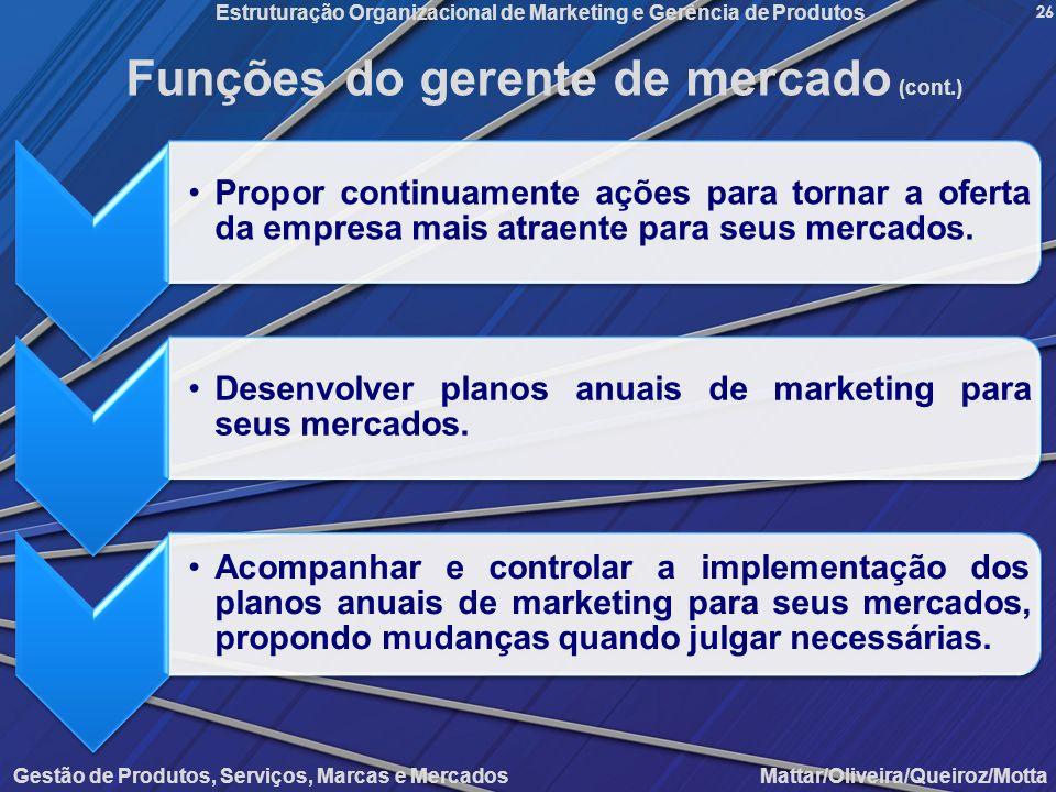 Gestão de Produtos, Serviços, Marcas e Mercados Mattar/Oliveira/Queiroz/Motta Estruturação Organizacional de Marketing e Gerência de Produtos 26 Funçõ