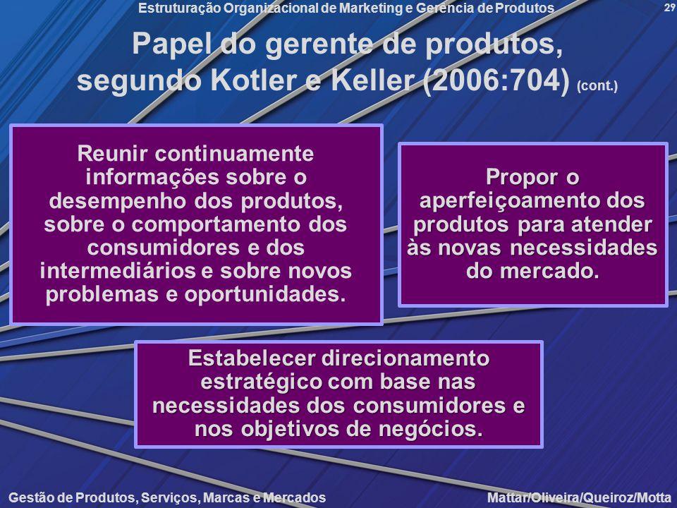 Gestão de Produtos, Serviços, Marcas e Mercados Mattar/Oliveira/Queiroz/Motta Estruturação Organizacional de Marketing e Gerência de Produtos 29 Reuni